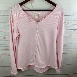 Sundance   Pink White Stripe Henley Shirt